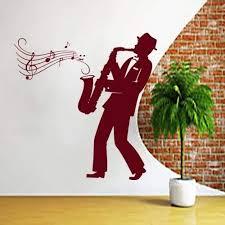 Amazon Com Music Wall Decals Interior Home Decor Saxophone Art Jazz Sticker Orchestra Musician Relax Vinyl Decal Kitchen Cafe Restaurant Gift Home Decor Murals Ml36 Kitchen Dining