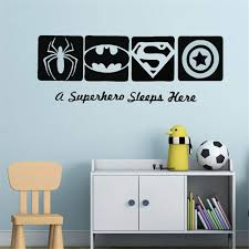 Amazon Com Ysisa Batman Wall Decal Sticker Spiderman Batman Captain America Super Hero Wall Decal Kids Boys Room Decor Hero Style Wall Mural Home Kitchen