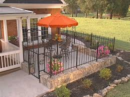 How To Install A Fence Around A Courtyard Patio Fence Iron Fence Brick Patios