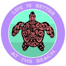Tribal Turtle Life Is Better At The Beach 3 5 Car Truck Window Bumper Graphics Vinyl Sticker Decal Vacation Tourist Travel Souvenir Sea Life Beach Ocean Creatures Fun Sun