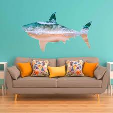 Vwaq Great White Shark Wall Art Decal Ocean Wall Sticker Sea Theme B