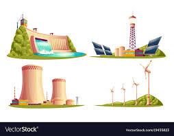 cartoon power stations isolated set