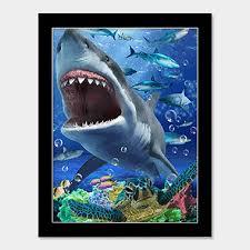 Sharks Tank Turtle Underwater Sea Ocean 3d Wall Art Poster Black Casaba Shop
