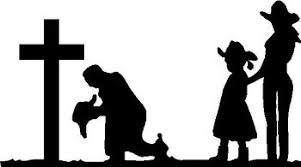 Cowboy Cowgirl And Doughter Praying At Cross Vinyl Cut Decal
