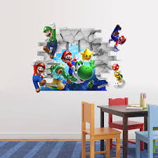 Super Mario Bros Wall Decal Art Decor 3d Build A Scene Peel And Stick Wall Decals Kids Mural Poster Room Decor Birthday Gift Wall Stickers Aliexpress