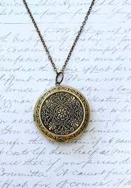 large round locket necklace gold fl