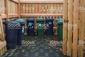Garbage Cans In The Street Of Germany In Specially Designated Place Fenced With Fence Stock Photo Download Image Now Istock
