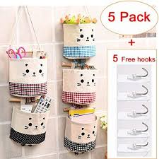 Amazon Com Small Wall Hanging Organizer Over The Door Hanging Storage Bag Wall Mounted Storage Pockets For Little Tiny Things Cute Cat Deco For Kids Room And Office Arts Crafts Sewing