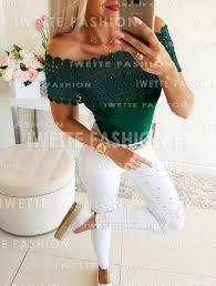 Bluzka Selena Green - Bluzki/Body, WYPRZEDAŻ Iwette Fashion