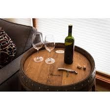 wine barrel side table log furniture