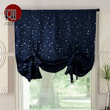 Roman Blackout Curtains For Kids Room Living Room Short Curtains For Kitchen Little Stars Window Drapery Home Decor Panel Rope Curtains Aliexpress