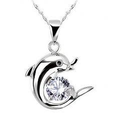dolphin pendant zircon diamond jewelry
