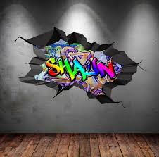 Personalised Name Full Colour Graffiti Wall Decals Cracked 3d Wall Sticker Mural Decal Graphic Wall Art Bedroom W Graffiti Room Graffiti Wall Graffiti Wall Art