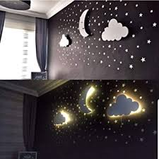 Amazon Com Nursery Boys Baby Kids Room Decor Wall Light Set Of 3 Wooden Wall Light With Led 100pcs Silver Star Wall Decals Gift Home Improvement