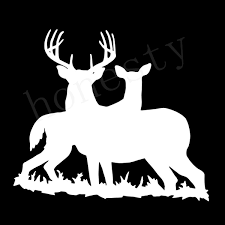 2pcs White Stickers Deer Family Hunting White Car Window Home Wall Decor Auto Vinyl Sticker Decal Wish