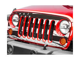 Sec10 Jeep Wrangler Distressed American Flag Grille Decal Black And White J106116 07 18 Jeep Wrangler Jk