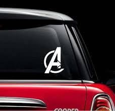 White Avengers Logo Car Sticker Marvel Avengers Inspired Etsy Car Decals Vinyl Car Avengers Logo