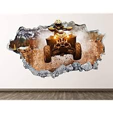Amazon Com West Mountain Four Wheeler Wall Decal Art Decor 3d Smashed Racing Sticker Poster Kids Room Mural Custom Gift Bl441 30 W X 18 H Home Kitchen
