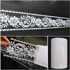 Amazon Com Wallpaper Border Stick And Peel Transparent Floral Lace Wallpaper Mirror Glass Decor Tile Removable Waterproof Window Stickers 393 7 X 3 9 Inches Wide Arts Crafts Sewing