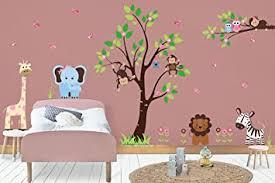 Amazon Com Wall Stickers Nursery Baby Room Furniture Interior Design Jungle Wall Decals Amazon Animals Safari Themed Decals Cute Monkeys Baby Wall Prints Nursery Design Baby Cute Baby