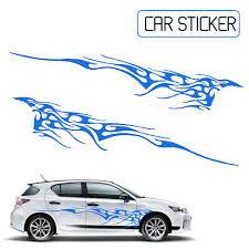 2pcs 102 X 14 Car Body Decal Vinyl Graphics Decals Sticker Flame Door Blue Ebay