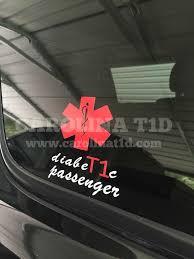 Type 1 Diabetic Passenger Vinyl Decal On Customer S Suv Diabetes Education Diabetes Type 1 Diabetes
