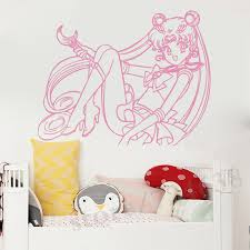 Sailor Moon Wall Decal Manga Anime Vinyl Sticker Bedroom Decor Mural Door Sticker Housewares Cartoon Wall Stickers For Kids Cartoon Wall Stickers Wall Stickers For Kidswall Sticker Aliexpress