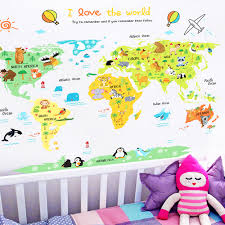 Home Animal World Map Pvc Removable Wall Sticker Decal Kid Room Art Diy Co