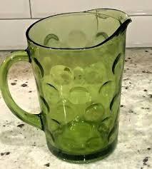 glass pitcher polka dots vaseline glass