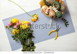 Florist Supplies Flowers On Wooden Background Stock Photo (Edit ...