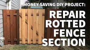 How To Repair And Replace Wooden Fence Section Panel Only Fix Rotted Leaning Alternating Slats Youtube
