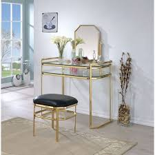 colleen vanity w stool gold by