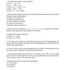 following nuclear equations
