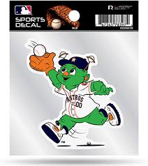 Amazon Com Astros Mascot Logo Premium 4x4 Decal With Clear Backing Flat Vinyl Auto Home Sticker Baseball Arts Crafts Sewing