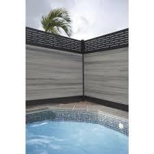 Veranda Euro Style 6 Ft H X 6 Ft W Lattice Top Oxford Grey Aluminum Composite Horizontal Fence Section Ef 03400 Horizontal Fence Fence Sections Fence Design