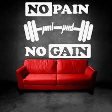 Fitness Exercise Gym Motivational Wall Decal No Pain No Gain