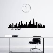Chicago Skyline Wall Decal Vinyl Stickers City Silhouette Wall Etsy