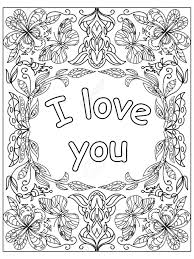 Valentine I Love You Quote Adult Coloring Page Stock Photo