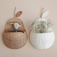 rattan woven wall hanging baskets