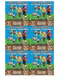 Minecraft Invitacion Tarjeta Digital E Imprimible 119 00 En