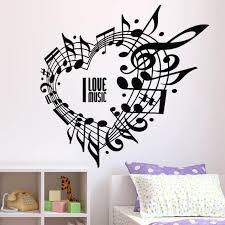 Wall Vinyl Decal Music Notes Heart Shape Wall Sticker Rock Band Jazz Band Wall Poster Home Decor Music Lover Vinyl Mural Ay1135 Wall Stickers Aliexpress