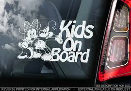 Kids On Board Car Window Sticker Mickey Minnie Mouse Decal Sign Personalise V03 Ebay
