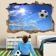 Football Goal Nets 3d Wall Sticker Mural Decal Kids Room Decor Soccer Ball Gd18 Ebay