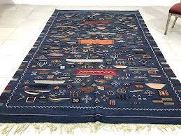 fabulous berber kilim in blue 6x9 wool