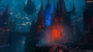 red and black castle wallpaper magic
