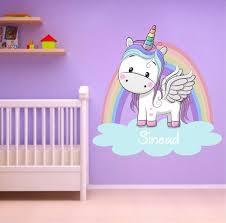 Personalised Unicorn Rainbow Wall Sticker Fantasy Decal Girls Etsy