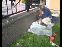 1 2 How To Make Fence Stone Veneers Stucco Cladding Using Decorative Concrete Dry Mix Youtube