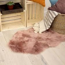 faux fur blush 4 ft x 2 ft area rug