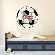 Amazon Com Nursery Wall Decals Soccer Name And Initial Personalized Name Wall Decal 14 By 14 Boys Or Girls Nursery Sports Decals Soccer Wall Decals Sports Wall Stickers Plus Free Hello Door Decal