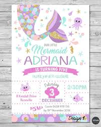 Details About Little Mermaid Invitations Invite 1st First Birthday